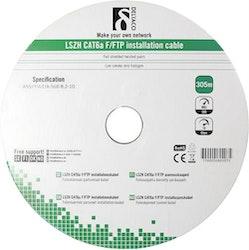 Deltaco F/FTP Cat6a installationskabel, LSZH, 305m trumma, 500MHz, Delta-certifierad, vit