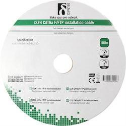 Deltaco F/FTP Cat6a installationskabel, LSZH, 100m trumma, 500MHz, Delta-certifierad, vit