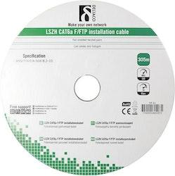 Deltaco F/FTP Cat6a installationskabel, LSZH, 305m trumma, 500MHz, Delta-certifierad, grå