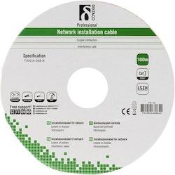 Deltaco S/FTP Cat7 installationskabel, 100m trumma, 600MHz, Delta-certifierad, LSZH, grå