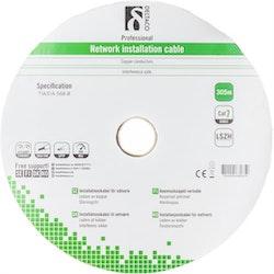 Deltaco S/FTP Cat7 installationskabel,305m trumma, 600MHz, Delta-certifierad, LSZH, vit