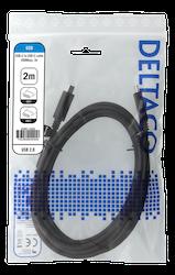 Deltaco USB 2.0 Typ C 2m svart USBC-2002