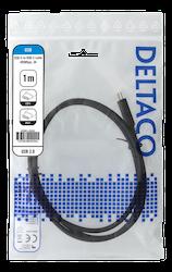Deltaco USB 2.0 Typ C 1m svart USBC-2001