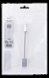 Deltaco USB 3.1 Typ C -> A OTG adapter aluminium 0,1m tyg silver USBC-1278