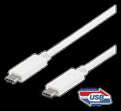 Deltaco USB 3.1 Typ C 0,5m vit USBC-1406