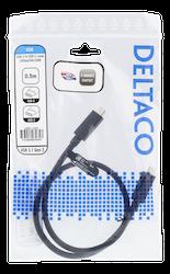 Deltaco USB 3.1 Typ C 0,5m svart USBC-1401