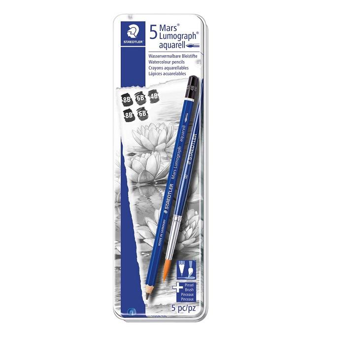 Staedtler Mars®Lumograph® Blyertspennor + pensel paket