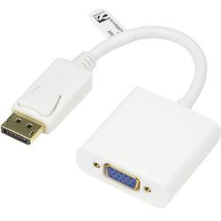 Deltaco DisplayPort till VGA-adapter, Full HD i 60Hz, 20-pin ha - 15-pin ho, 0,2m, vit