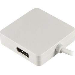 Deltaco Mini DisplayPort till DVI/HDMI/DisplayPort adapter, Ultra HD i 30Hz, Ultra HD i 30Hz, 0,2m, vit