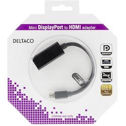Deltaco Mini DisplayPort till HDMI adapter med ljud, 20-pin ha - 19-pin ho, guldpläterad, 4K, 0,2m, svart
