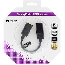 Deltaco DisplayPort till HDMI adapter med ljud, 20-pin ha - 19-pin ho, guldpläterad, 4K, 0,2m, svart