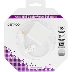 Deltaco Mini DisplayPort till DVI-D Single Link aktiv adapter, FullHD i 60Hz, guldpläterad, 0,2m, vit