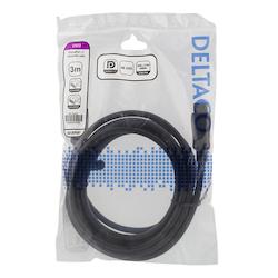 Deltaco DisplayPort-kabel, 4K UHD, DP 1.2, 3m, svart