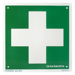 Första Hjälpen skylt med kors Cederroth