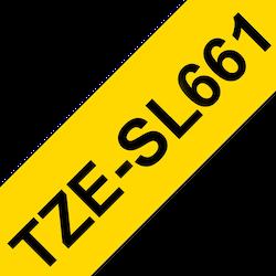 Brother TZESL661 original självlaminerande tape, svart på gul, 36 mm