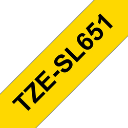 Brother TZESL651 original självlaminerande tape, svart på gul, 24 mm