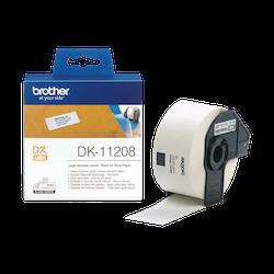 Brother DK-11208 orginal etikettrulle, svart på vit 38 x 90 mm