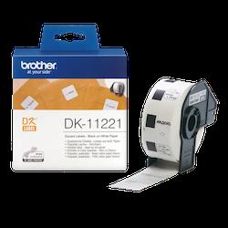Brother DK-11221 orginal etikettrulle, svart på vit 23 x 23 mm