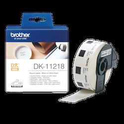 Brother DK-11218 orginal etikettrulle, svart på vit Ø 24 mm