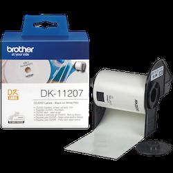 Brother DK-11207 orginal CD-/DVD-etiketter, svart på vit Ø 58 mm