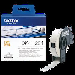 Brother DK-11204 orginal etikettrulle, svart på vit 17 x 54 mm