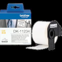 Brother DK-11234 orginal etikettrulle, svart på vit 60 x 86 mm