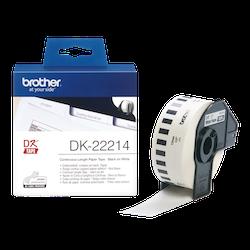 Brother DK-22214 orginal etiketter på fortlöpande rulle, svart på vit 12 mm
