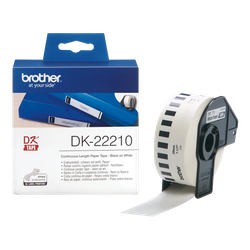 Brother DK-22210 orginal etiketter på fortlöpande rulle, svart på vit 29 mm