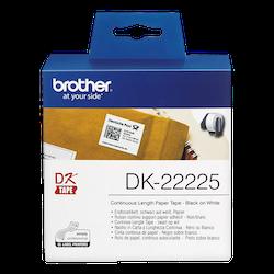 Brother DK-22225 orginal etiketter på fortlöpande rulle, svart på vit 38 mm