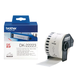 Brother DK-22223 orginal etiketter på fortlöpande rulle, svart på vit 50 mm