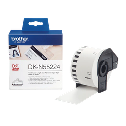 Brother DK-N55224 orginal etiketter på fortlöpande rulle, icke vidhäftande, svart på vit 54 mm