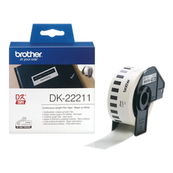Brother DK-22211 orginal etiketter på fortlöpande rulle med plastfilm, svart på vit 29 mm