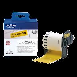 Brother DK-22606 orginal etiketter på fortlöpande rulle med plastfilm, svart på gul 62 mm