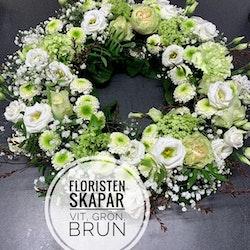 Krans ca 45cm diameter - Vit, Grön & Brun