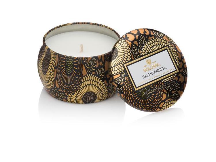 Baltic Amber - Mini decorative tin candle