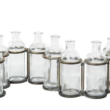 9 Flaskor M. Ställning Antik Mässing