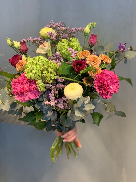 Floristens val - Cerise/lila/aprikos/cremé