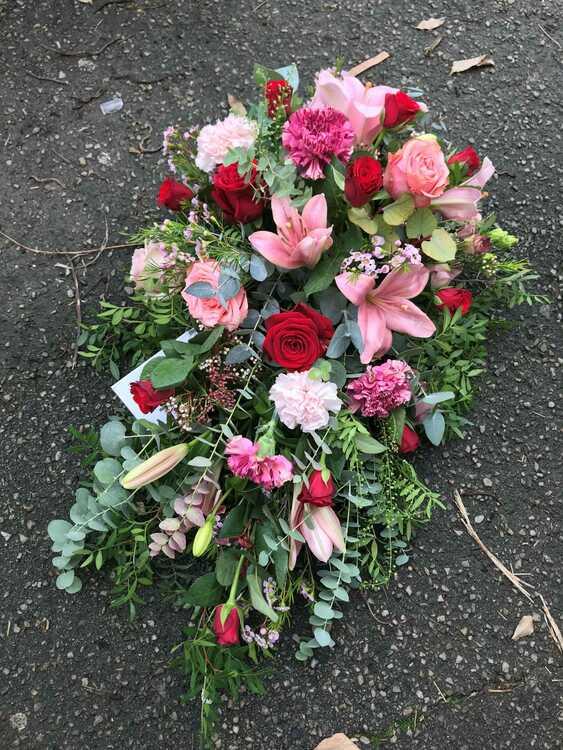 Låg droppformad dekoration - Röd & Rosa