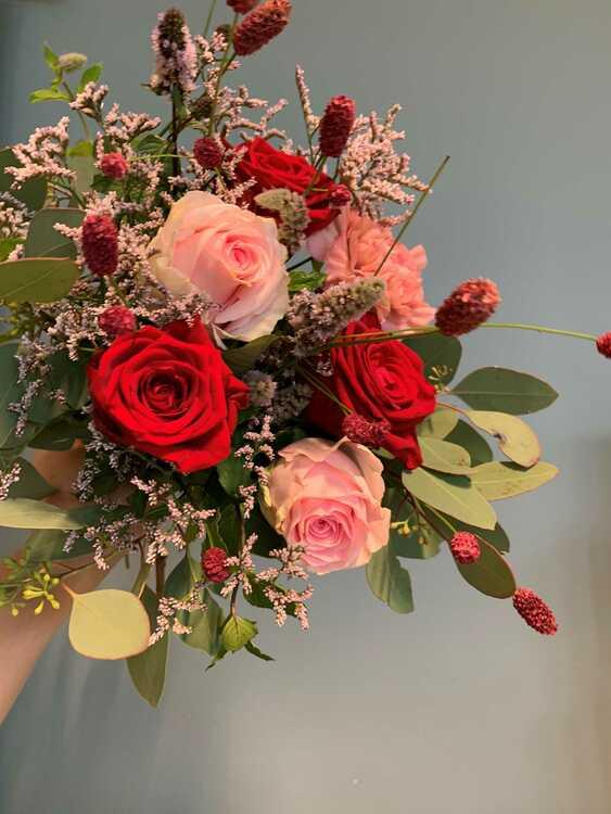 Rosbukett - Röd & Rosa