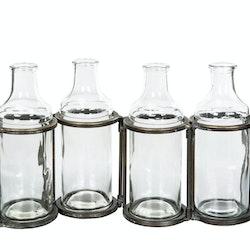 4 Flaskor M. Ställning Antik Mässing