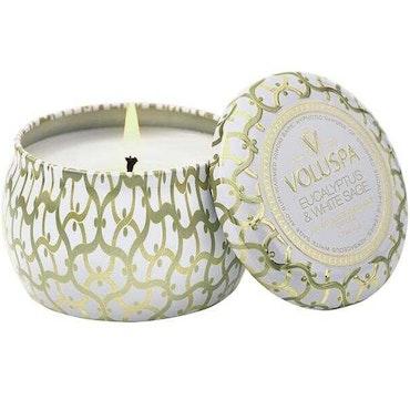 EUCALYPTUS & WHITE SAGE - Decorative tin candle