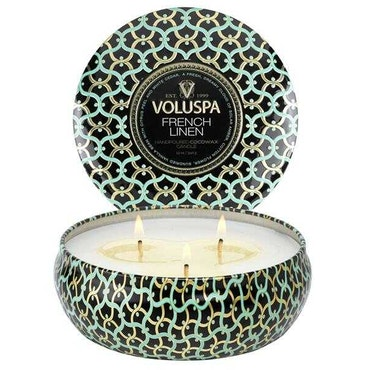FRENCH LINEN - 3 Wick Tin Candle