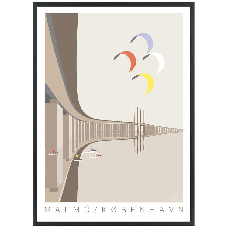 Poster Öresundsbron med svart ram