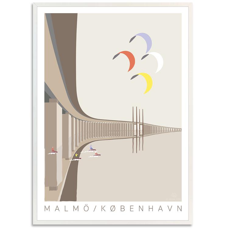 Poster Öresundsbron med vit ram