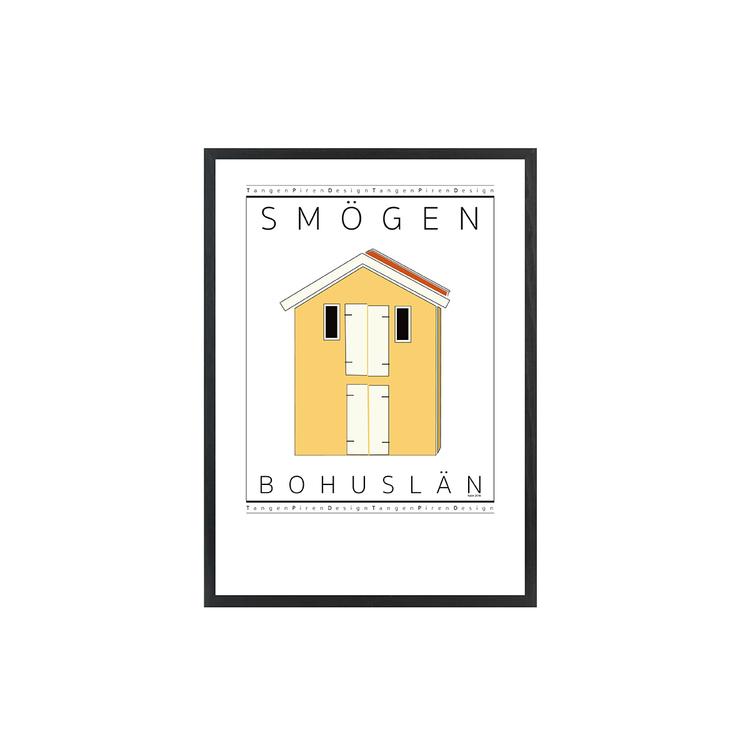 Poster Sjöbod gul med svart ram