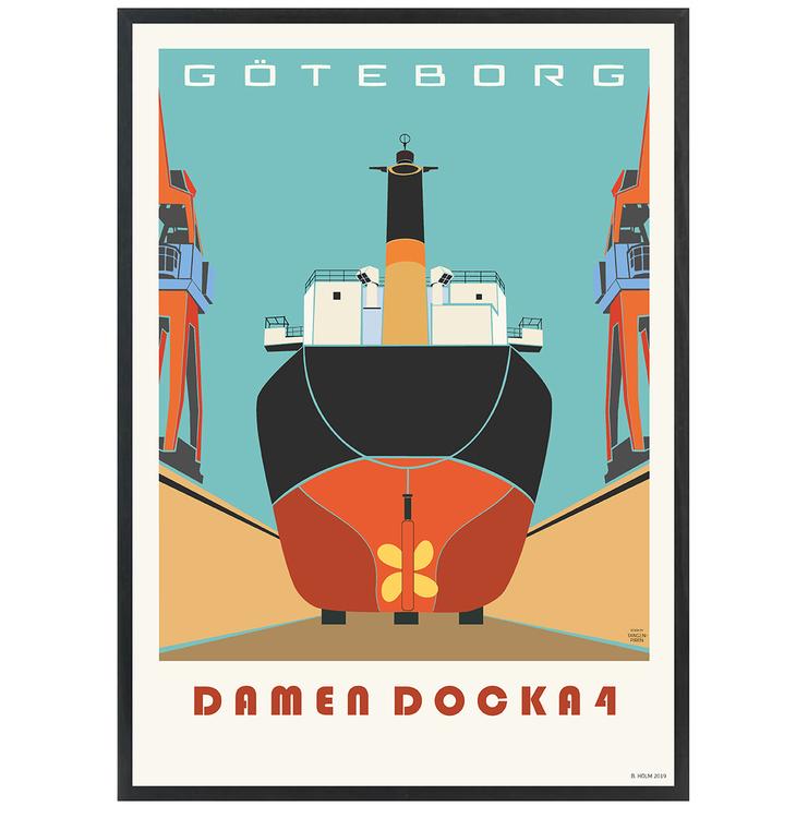 Poster Göteborg Docka 4 med svart ram