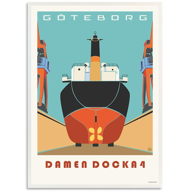 Poster Göteborg Docka 4 med vit ram