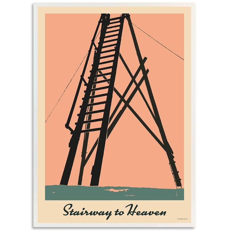 Poster Stairway to Heaven med vit ram