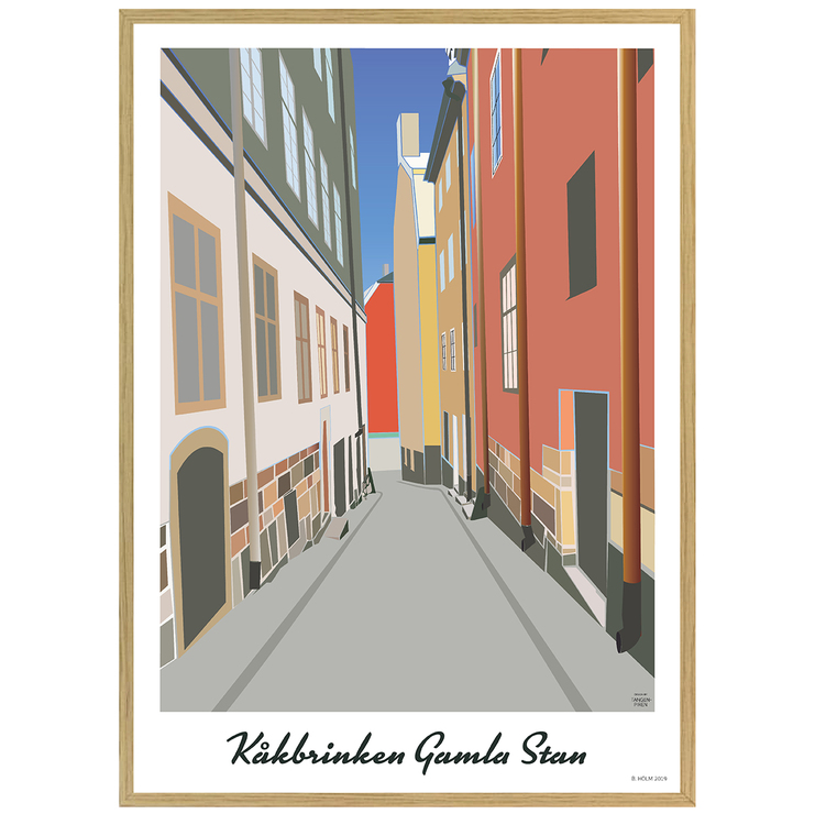 Poster Stockholm Kåkbrinken med ekram