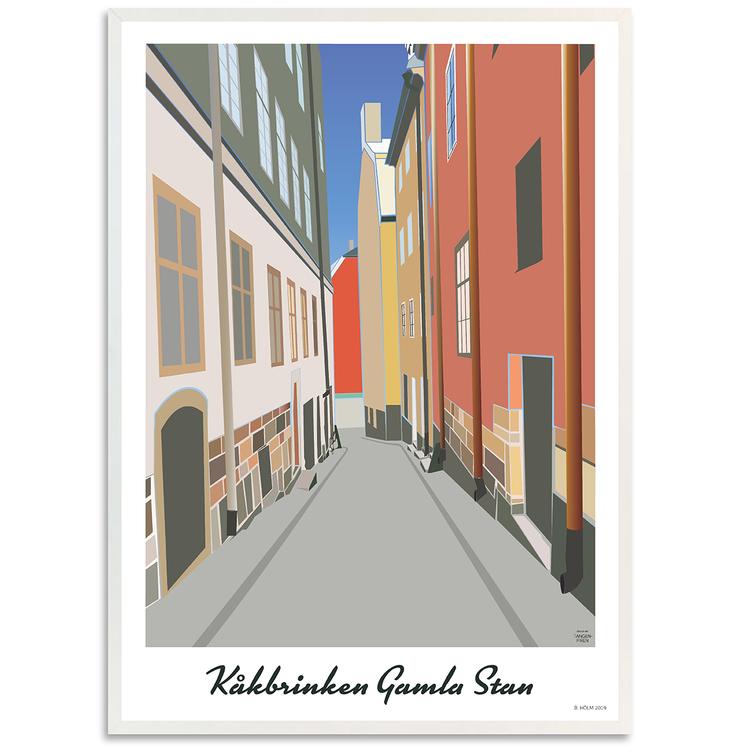 Poster Stockholm Kåkbrinken med vit ram